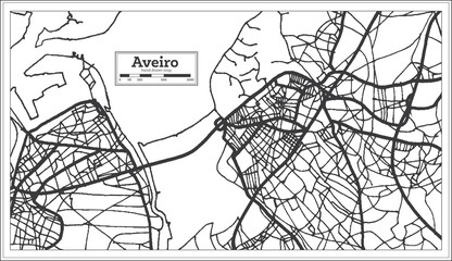 Aveiro Portugal City Map in Retro Style. Outline Map.