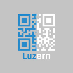 QR code set the color of Lucerne flag, The canton of Switzerland.