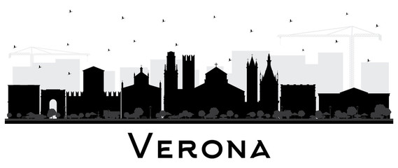 Verona Italy City Skyline Silhouette with Black Buildings Isolated on White.
