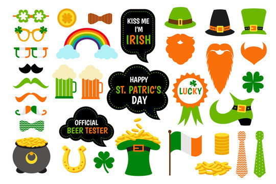 St. Saint Patricks Day icon photo booth props set.