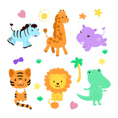 Cute jungle animal collection with funny elements as palm tree, grass, star, heart, bow. Contains such characters as zebra, giraffe, hippo, tiger, lion, crocodile.