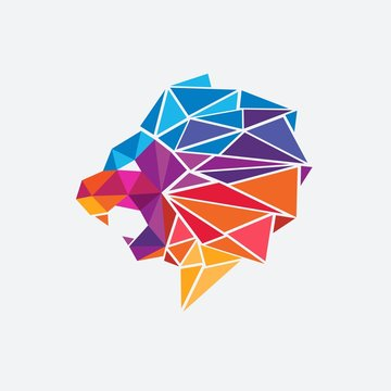 Colorful Lion Head Geometric