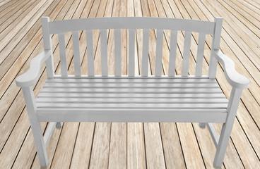 banc créole blanc sur plancher bois brut