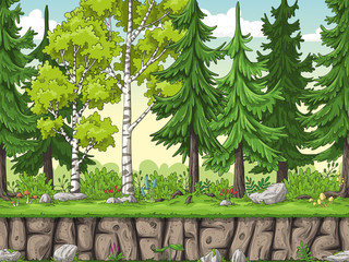 Wall Mural - Seamless cartoon forest background. Hand draw with separate layers.