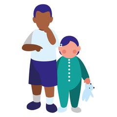 beautiful little kids couple interracial characters