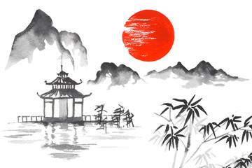 Japan Traditional japanese painting Sumi-e art Sun Mountain Temple
