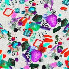 Seamless pattern made by hand drawn paint strokes.