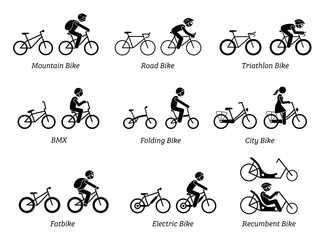 Type of bicycles and riders. Pictograms depict mountain, road, triathlon, folding, bmx, city, fat, electric, and recumbent bikes, with and without the riders.
