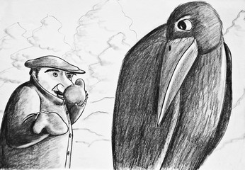 A man talking to a rook. Why doesn't your nose get cold? Pencil drawing on paper