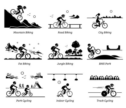 Cyclist cycling and riding bicycle in different places. Pictograms depict biking at mountain, road, city, ice, jungle, BMX, park, indoor, and track.
