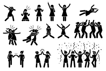 Female, girl, or woman celebration poses and gestures. Artwork shows girl celebrating by dabbing, raising hands, jumping up, hug, chest bump, high five, throwing person the air and group celebration.