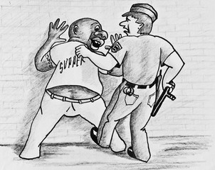 Allegory of racial discrimination. A police officer arrested a black man. Pencil drawing on paper