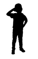 Stock Silhouette of little boy