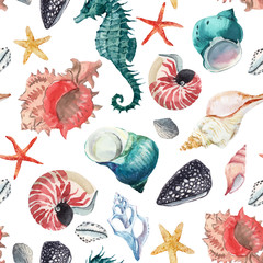 Watercolor sea life vector pattern