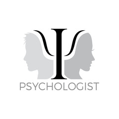 Vector logo psychologist with symbol and two human heads