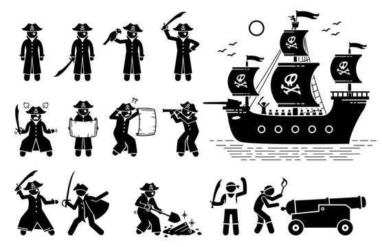 Pirate poses and ship. Stick figure pictogram depicts pirates in different actions such as sword fighting, reading map, using spyglass, finding treasure, firing cannon ball, and sailing on ship.