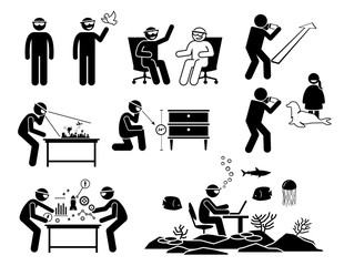 People using and wearing future augmented reality headset, glasses, and spectacles. Stick figure pictogram depicts icons for AR devices and the application usages with the futuristic technology.