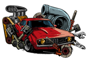 car with tools and components