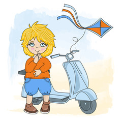 BOY KITE Cartoon Vector Illustration Set for Print, Fabric and Design.
