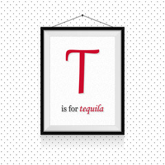 Alcohol expressions ABC in frame hanged on the wall - T letter is for tequila