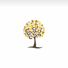 Logo vector element of ecological nature of green tree leaves