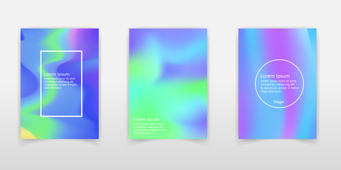 Holographic shapes backgrounds set. Modern geometric covers design. Applicable for gift card,cover,poster,brochure,magazine. Eps10 vector template. - Vector