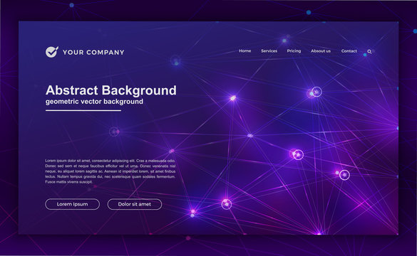 Trendy abstract technology background for your landing page design. Minimal background for website designs. Trendy blue, purple gradient background. Artificial intelligence technology background.