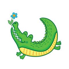 Hand drawn cute crocodile with flower.