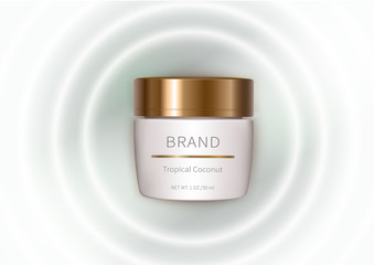 Cosmetic realistic vector background with cream. Skin care cosmetics, face protein cream in white jar with golden lid fall into milk waves. Mock-up promo banner, advertising poster template