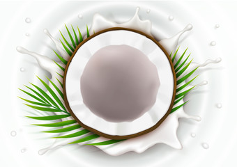 Broken coconut in milk splash and drops realistic vector, half coco nut with green palm leaves, on white wavy background, top view. Design element for food packaging, natural organic cosmetics.