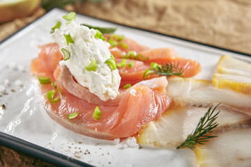 Smoked Salted Raw White Fish Fillet with Red Fish Sashimi