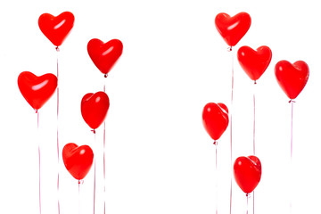 beautiful red heart balloons. St Valentines day