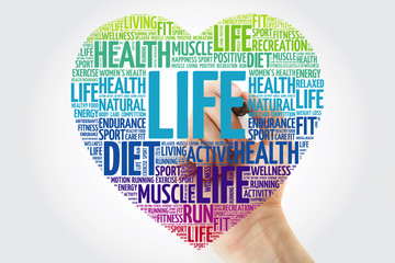 LIFE heart word cloud with marker, fitness, sport, health concept