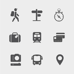 Traveling, transport, navigation, photo and payment outline icons