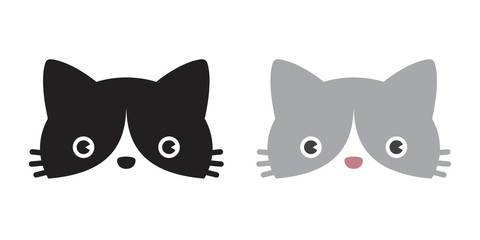 cat vector head icon logo kitten calico cartoon character illustration