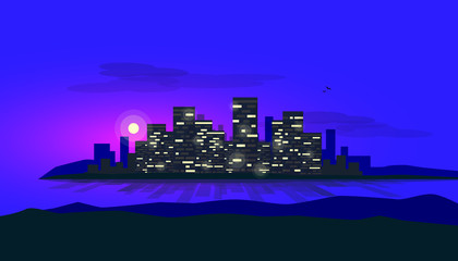 Night scene of city bank glowing skyscrapes skyline office buildings. Shadows and reflections on the water of riverside sea bay. Urban vector illustration with clouds ons sky and hills in the front.