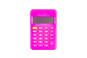 One digital pink plastic calculator isolated on white background. Top view. Clipping path - image