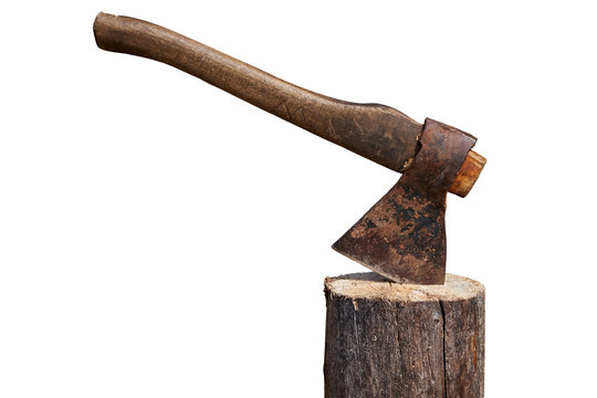 Old axe stuck in log isolated over white