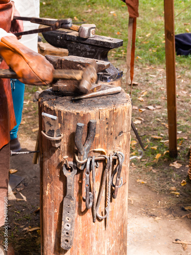 Medieval builder tools, wooden hammers   Annual festival