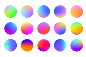 Set of round Vector Gradient. Multicolor Sphere. Modern abstract background texture. Template for design. Isolated  objects.