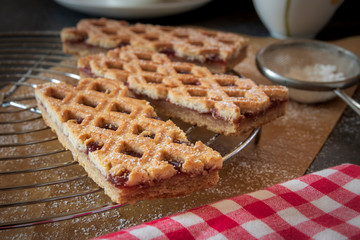 Linzer Torte is traditional Austrian cake with a lattice design on top of the pastry.