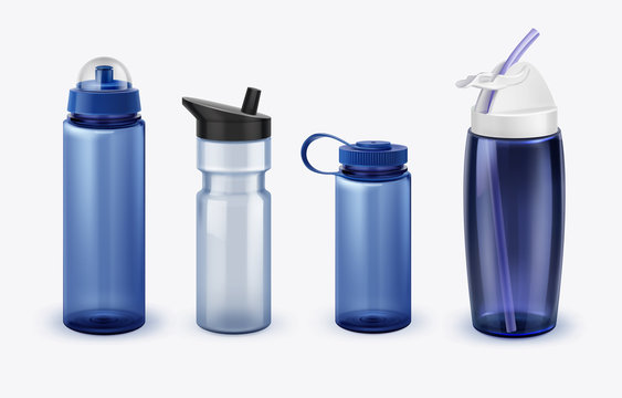 Vector illustration of sport water bottles set various shapes and size isolated on background