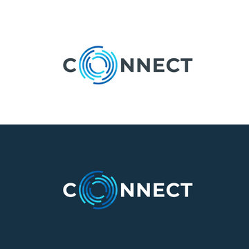 Abstract connection logo. Network technology logotype.  Letter O design template.