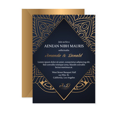 Gold wedding card