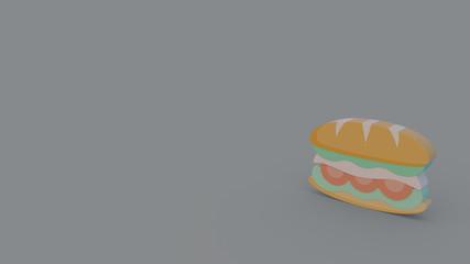 3d icon of sandwich