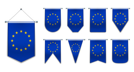 Set of hanging flags of the EUROPEAN UNION with textile texture. Diversity shapes of the national flag of EC.Vertical Template pennant for background, banner, web, logo,award, achievement, festival.