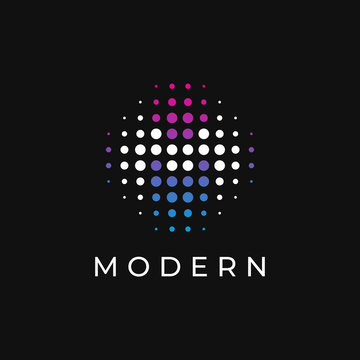 Dots Letter M Logo. M Letter Design with Dots. Vector logotype.