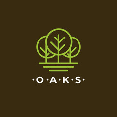 Line Art Oaks tree Logo design. Simple, minimal and elegant forest logo design.