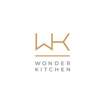 WK. Monogram of Two letters W & K. Luxury, simple, minimal and elegant WK logo design. Vector illustration template.