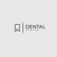 Modern minimalistic dentist logo design template.  Line tooth creative symbol. Dental clinic vector sign mark icon.
